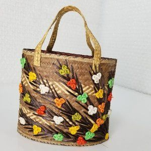 Vintage 60s tropical palm & visca straw woven tote